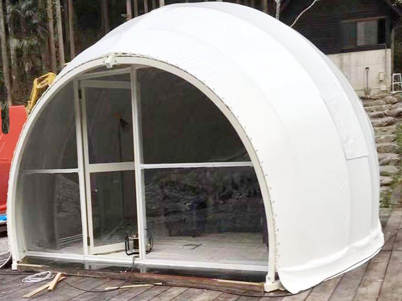 Geodesic Dome Shape With Small Space In The Front For Put Chiars
