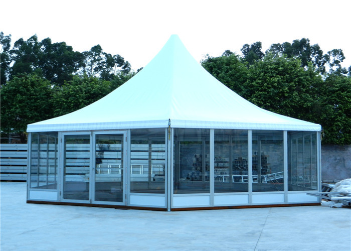 Aluminum Frame Pvc Roof Hexagon Tent With Glass Wall