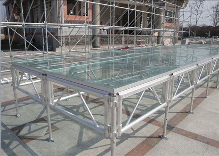 Normal Exhibition Booth Size : Glass portable stage heavy loading detachable for