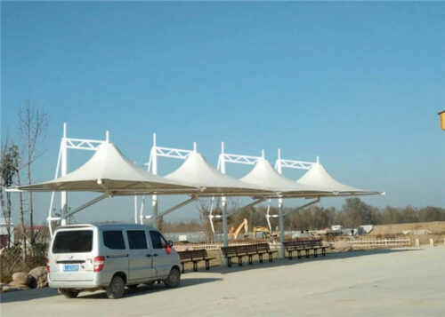 Car Park Shade Ptfe Membrane Structure Carport Tensile