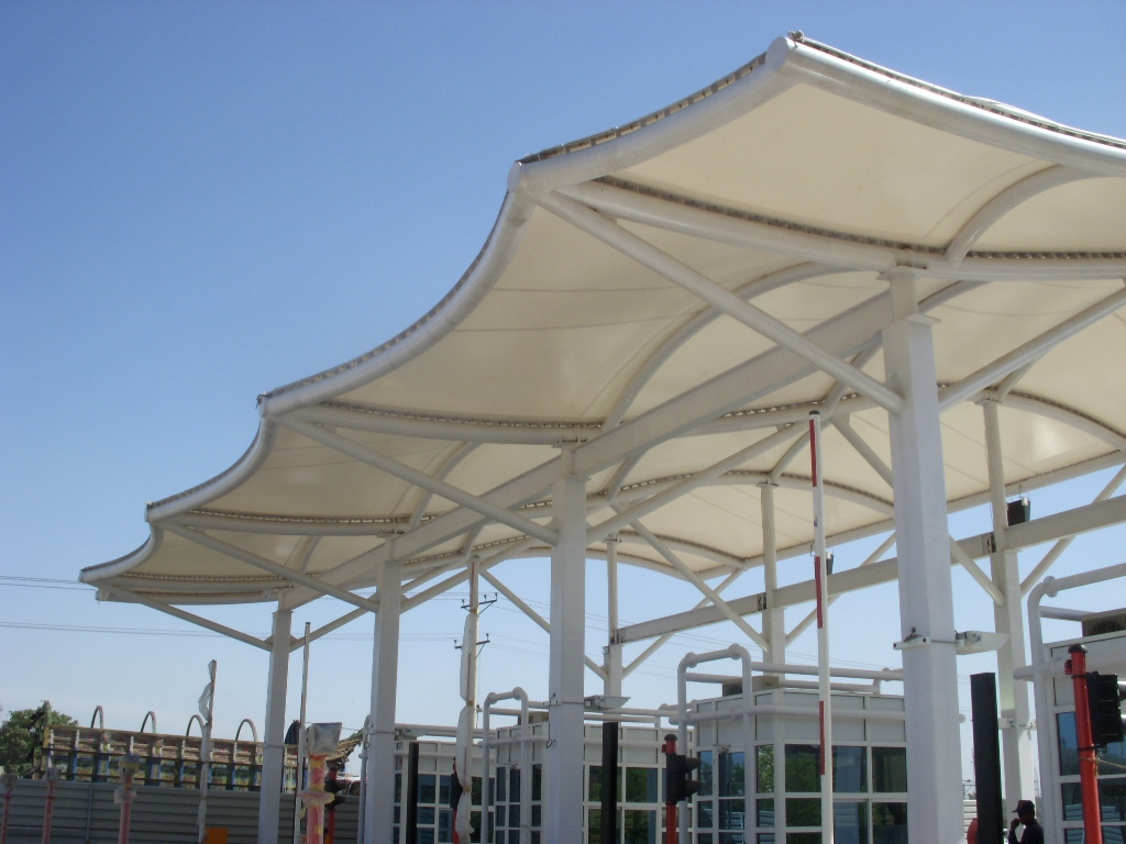 High Speed Way Entrance Membrane Structure Toll Plaza Canopies with PVDF material & High Speed Way Entrance Membrane Structure Toll Plaza Canopies ...