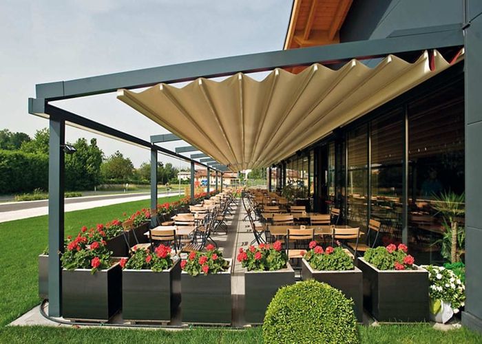 Garden Awning Pergola Retractable PVC Roof